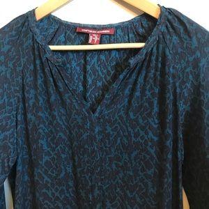 Blue leopard print silk tunic dress